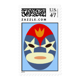 Blue Lucha Libre Mask Postage