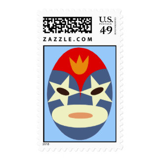 Blue Lucha Libre Mask Postage