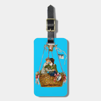 Blue Luggage Tag with Couple & Air Balloon