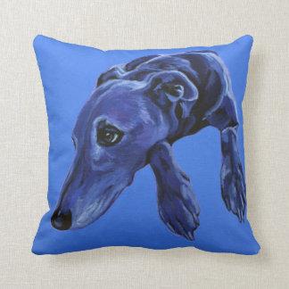 Blue lurcher cushion