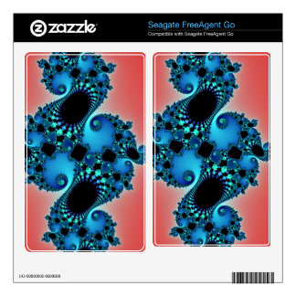 Blue Lush, fractal arabesque on red FreeAgent Go Decal