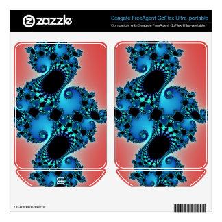 Blue Lush, fractal arabesque on red FreeAgent GoFlex Skins