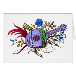 Blue lute and plants greeting card