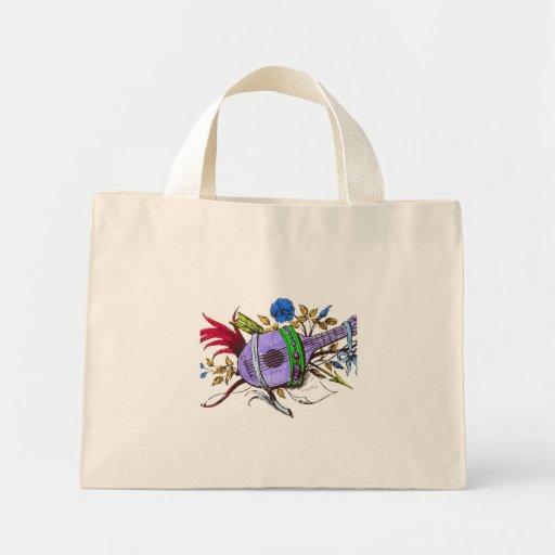 Blue lute and plants mini tote bag