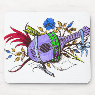 Blue lute and plants mouse pads