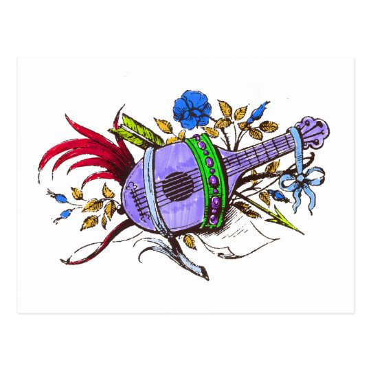 Blue lute and plants postcard
