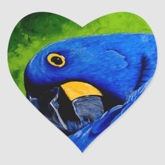 Blue Macaw Heart Sticker