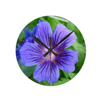 Blue macro Flower Round Wall Clocks