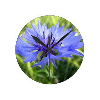 Blue macro Flower Round Wallclocks