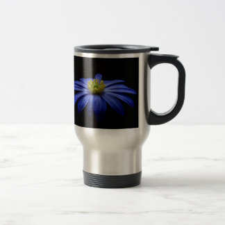 Blue Macro Flower Travel Mug