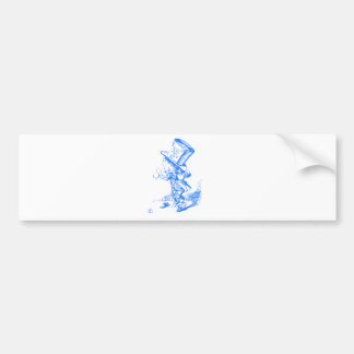Blue Mad Hatter Car Bumper Sticker
