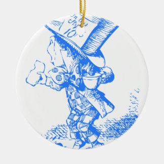 Blue Mad Hatter Ceramic Ornament
