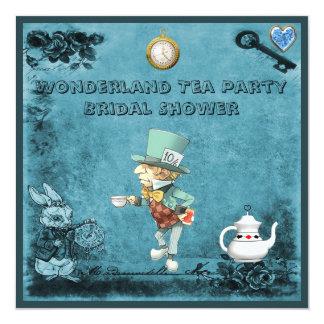 Blue Mad Hatter Wonderland Tea Party Bridal Shower Card