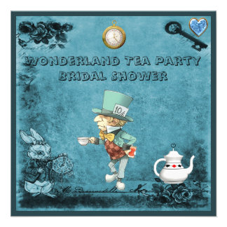 Blue Mad Hatter Wonderland Tea Party Bridal Shower Custom Invite