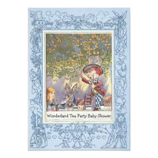 Blue Mad Hatter's Wonderland Tea Party Baby Shower Card
