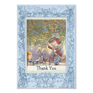 Blue Mad Hatter's Wonderland Tea Party Thank You Card