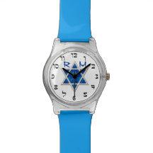 Blue Magen David, Faux Hebrew Numerals, Monogram Wrist Watches
