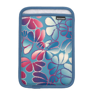 Blue Magenta Whimsical Ikat Floral Doodle Pattern iPad Mini Sleeves