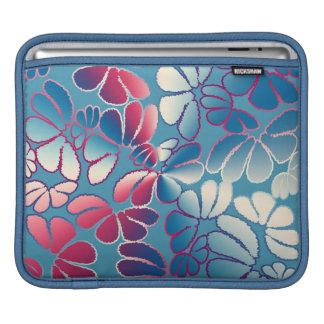 Blue Magenta Whimsical Ikat Floral Doodle Pattern iPad Sleeves