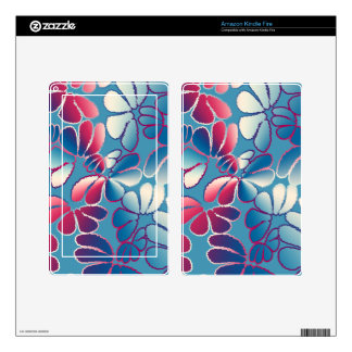 Blue Magenta Whimsical Ikat Floral Doodle Pattern Kindle Fire Skins