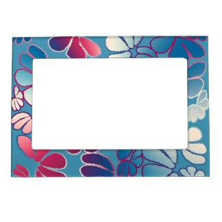 Blue Magenta Whimsical Ikat Floral Doodle Pattern Magnetic Frame