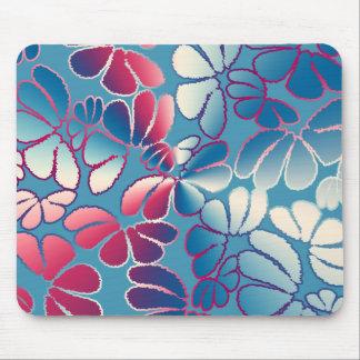 Blue Magenta Whimsical Ikat Floral Doodle Pattern Mouse Pad