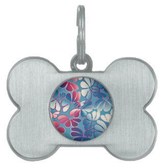 Blue Magenta Whimsical Ikat Floral Doodle Pattern Pet Tag