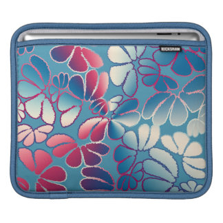 Blue Magenta Whimsical Ikat Floral Doodle Pattern Sleeve For iPads