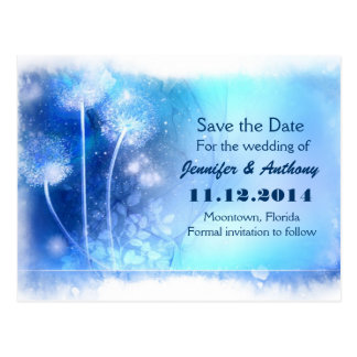 blue magic dandelions save the date postcards