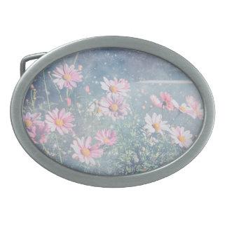 Blue Magical Pink Daisies, Flowers Photograph Belt Buckles