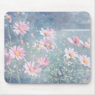 Blue Magical Pink Daisies, Flowers Photograph Mouse Pad