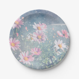 Blue Magical Pink Daisies, Flowers Photograph Paper Plate