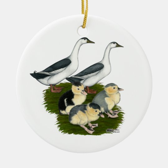 Blue Magpie Duck Family Ceramic Ornament