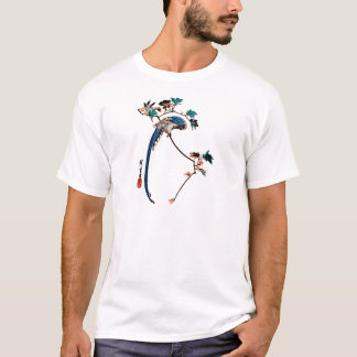 Blue magpie on maple branch T-Shirt
