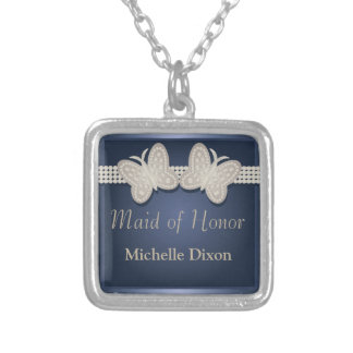 Blue Maid of Honor Wedding Butterfly Necklace