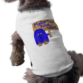 Blue make love not war doggie t-shirt
