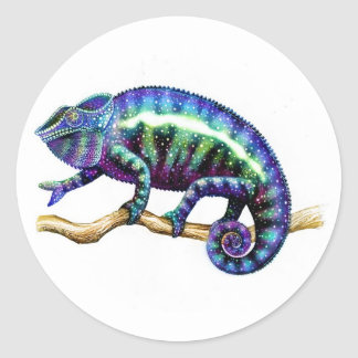 Blue Male Panther Chameleon Stickers