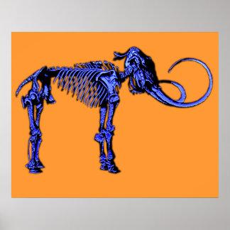 Blue Mammoth Skeleton Poster