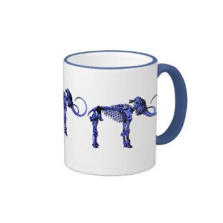 Blue Mammoth Skeleton Ringer Coffee Mug