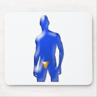 Blue Man in Orange Underwear Mouse Pad