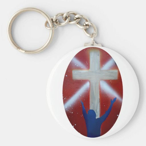 Blue Man raises arms up to cross on red back Keychains