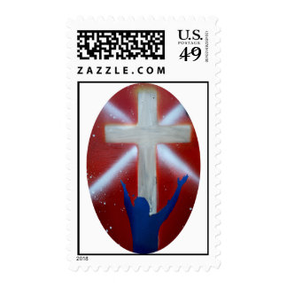 Blue Man raises arms up to cross on red back Stamps