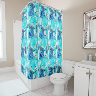 Blue Manatee Pattern Shower Curtain