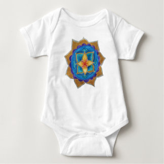Blue Mandala Baby Jersey Bodysuit, White Baby Bodysuit