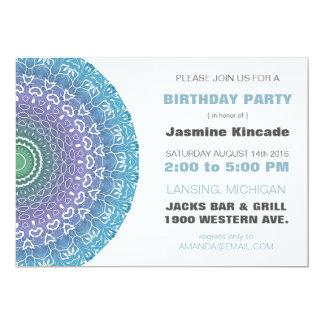 Blue Mandala Birthday Party Invitations