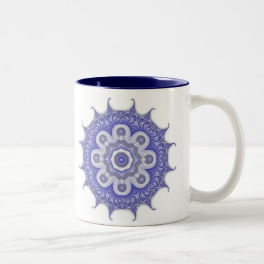 Blue Mandala Fractal 200706072332 Two-Tone Coffee Mug