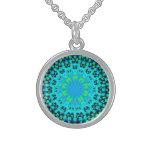 Blue mandala fractal necklace