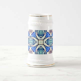 Blue mandala hearts pattern Thunder_Cove Beer Stein