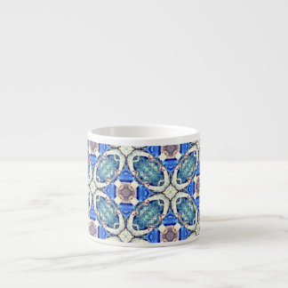 Blue mandala hearts pattern Thunder_Cove Espresso Cup