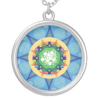 Blue mandala necklace